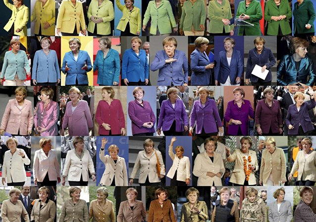 A undated combination picture shows German Chancellor Angela Merkel, wearing jackets of differing colours while attending various public events. Senior German CDU party sources say on November 20, 2016 that Merkel will run again for the Chancellorship in the next year general elections.