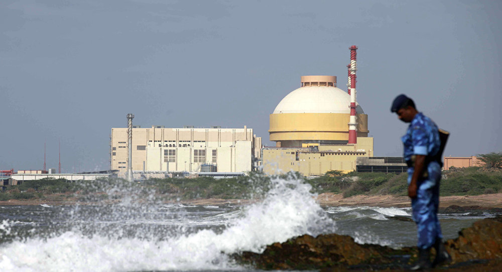 Indian paramilitary soldier stands near the Russian-built Kudankulam Atomic Power Project, at Kudankulam, about 700 kilometers (440 miles) south of Chennai, Tamil Nadu state, India. (File)
