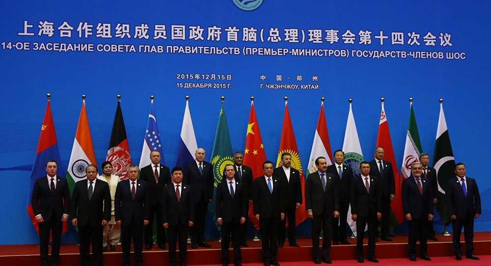 Russian Prime Minister Dmitry Medvedev, first row fifth left, during joint photo opportunity with SCO heads of government and heads of delegations of observer states. (File)