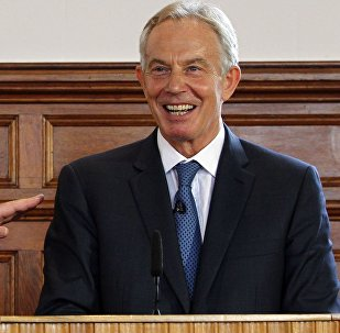 Britain's Conservative former prime minister John Major (L) and Labour former prime minister Tony Blair (R) speak at the University of Ulster in Derry (Londonderry), Northern Ireland on June 9, 2016.