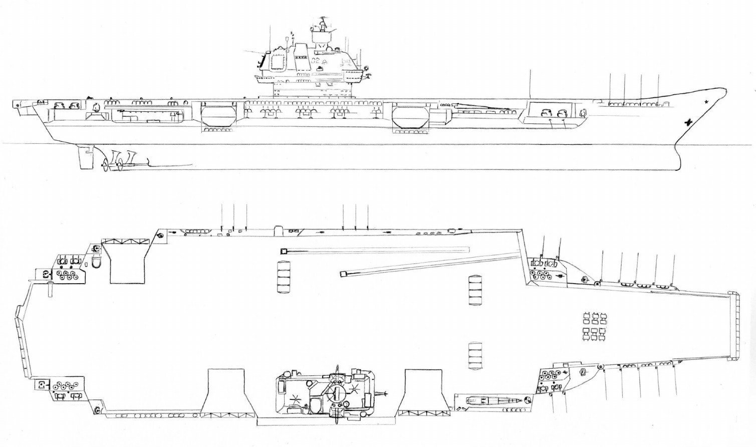 Plans for the Ulyanovsk nuclear aircraft carrier.