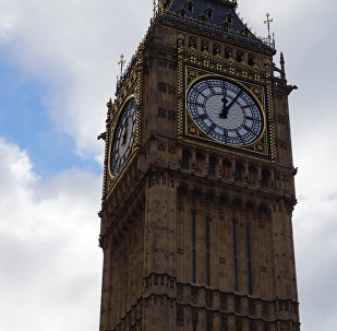 The famous Elizabeth Tower in the UK Houses of Parliament, which contains the Great Bell, known as Big Ben.