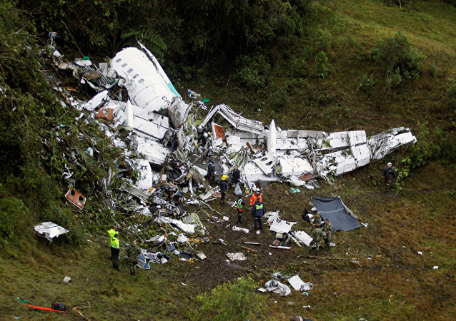 Wreckage from a plane that crashed into Colombian jungle with Brazilian soccer team Chapecoense, is seen near Medellin, Colombia, November 29, 2016.