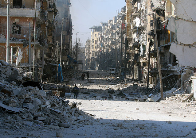 Syrians walk over rubble of damaged buildings, Aleppo, Syria.