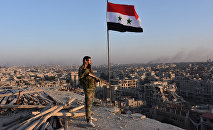 Syrian pro-government forces stand on top of a building overlooking Aleppo in the city's Bustan al-Basha neighbourhood on November 28, 2016