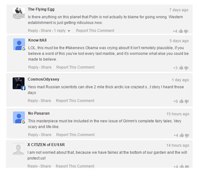 Comments below the article on Express.co.uk