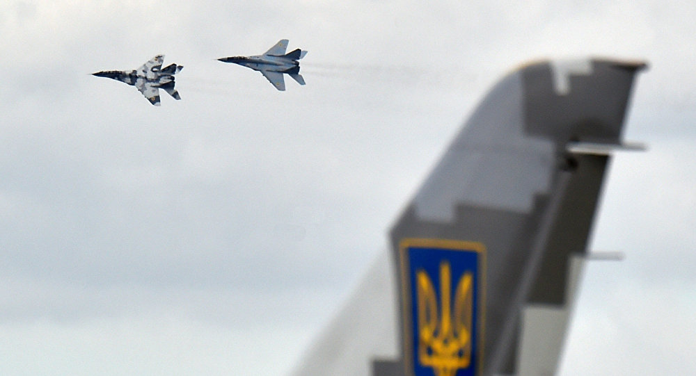 Ukrainian Air force MIG 29 fighter planes take part in practical flights during an exercise at the Air Force military base in Vasylkiv, some 40km from Kiev on August 3, 2016