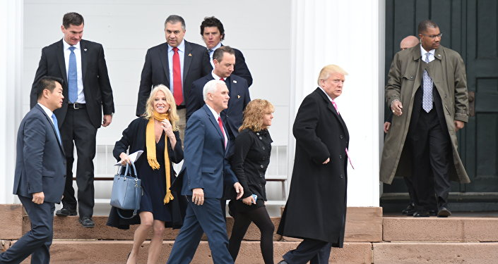 US President-elect Donald Trump(2nd-R) and Vice President-elect Mike Pence(C) leave the Lamington Presbyterian Church after Sunday services in Bedminster, New Jersey November 20, 2016