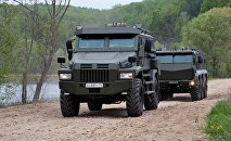 Patrol-A (L) and Typhoon-K (R) increased protection armored vehicles