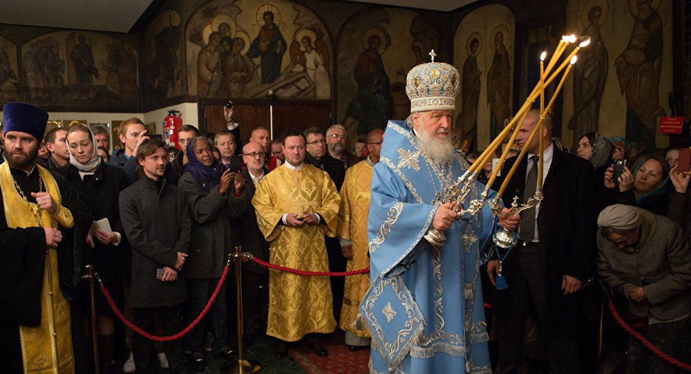 Patriarch Kirill of Moscow and All Russia during a matins of an all-night vigil in the Russian Orthodox Church of the Three Hierarchs in Paris, held as part of his visit to France