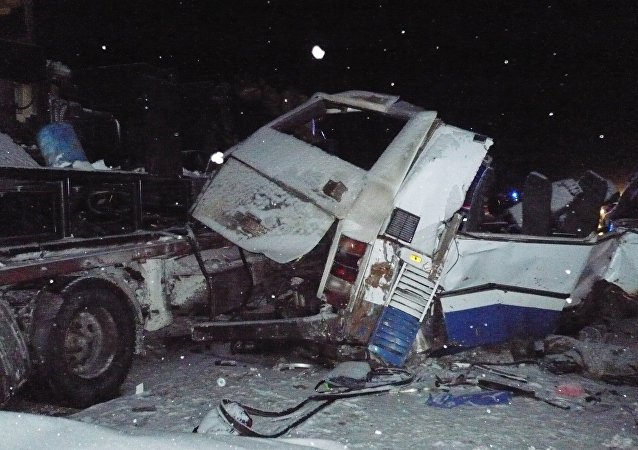 Car accident on a road between the cities of Tyumen and Khanty-Mansiysk