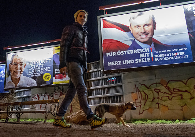 A man walks his dog around a park where Election posters of Austrian Presidential election candidates Norbert Hofer (R),Freedom Party Austria FPOe, and Alexander Van der Bellen (L) are seen in Vienna, Austria on December 3, 2016