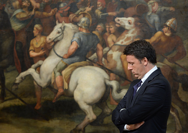 (FILES) This file photo taken on June 23, 2016 shows Italian Prime Minister Matteo Renzi standing in front of a copy of a fresco by Italian artist Raphael named The Meeting of Leo I and Attila, on June 23, 2016 at the Palazzo Chigi in Rome