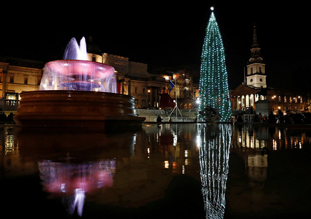 The Norwegian spruce Christmas tree is seen illuminated in Trafalgar Square in London, Britain