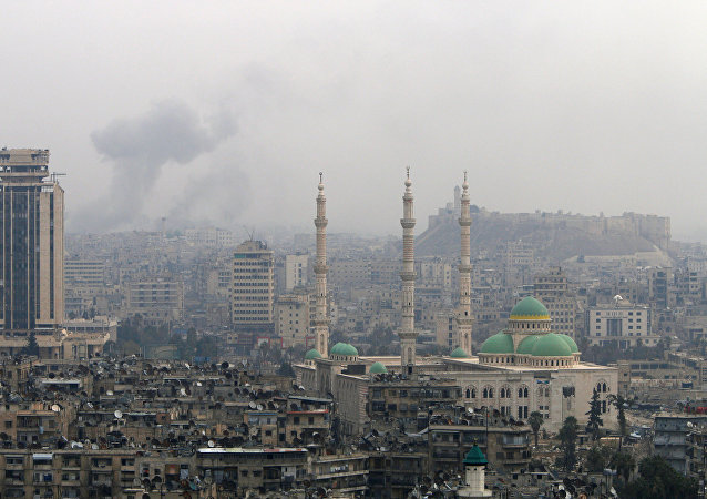 Smoke rises after strikes on Aleppo, Syria December 5, 2016.