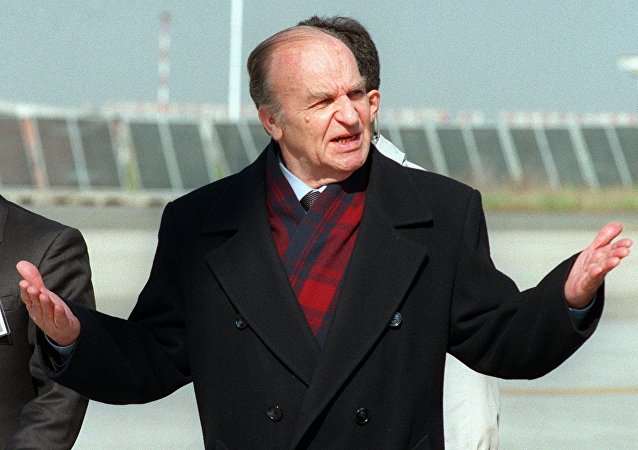 Bosnian President Iljia Izetbegovic gesticulates upon his arrival at Rome's Ciampino airport. (File)