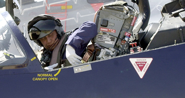 Chief of Indian Air Force Air Chief marshal SP Tyagi unfastens his seatbelt as he gets out of a BAE systems HAWK advanced jet trainer after flying it over the Yehlanka Air force Station on the outskirts of Bangalore on the eve of the Aero India 2005 aerospace show. (File)