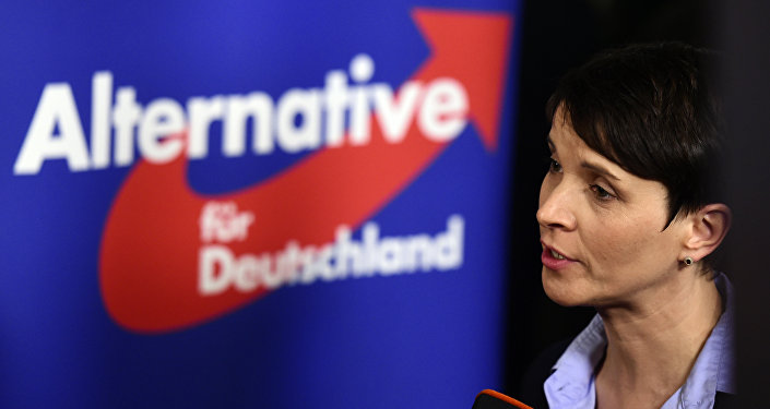 Frauke Petry, head of the right-wing populist party Alternative for Germany (AfD) party gives an interview after state elections exit poll results were announced on tv in Berlin on March 13, 2016