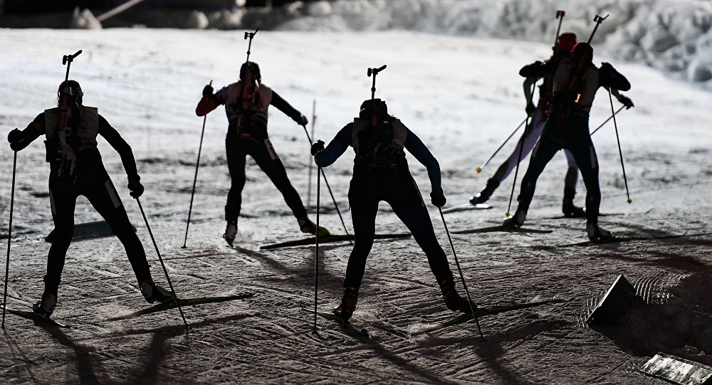 Athletes during the mixed relay race at the 2016–17 Biathlon World Cup – World Cup 1 in Ostersund, Sweden