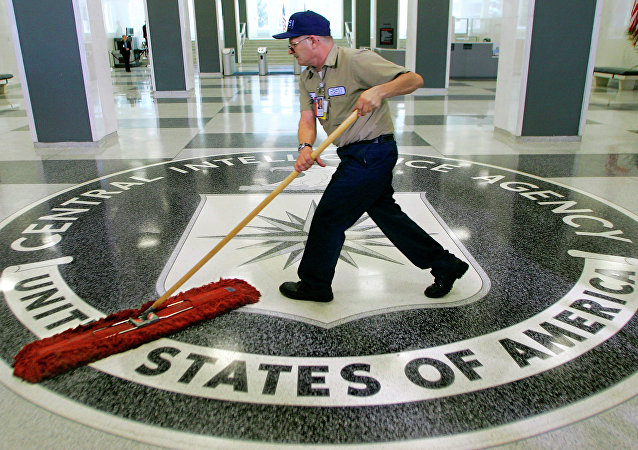 A CIA logo at the CIA headquarters