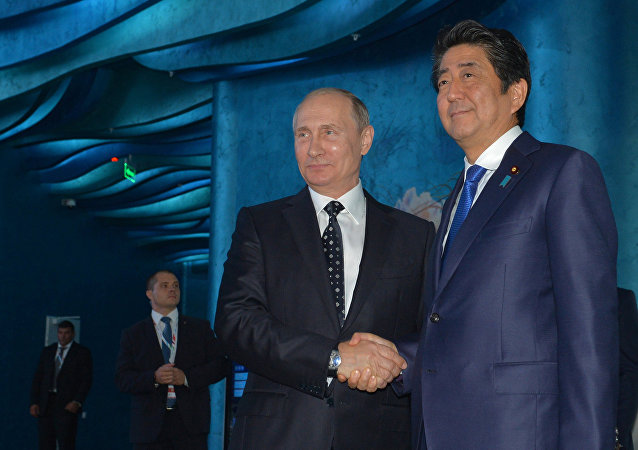 Russian President Vladimir Putin, left, and Japanese Prime Minister Shinzo Abe during a joint examination of the Primorsky Aquarium on Russky Island as part of the Eastern Economic Forum