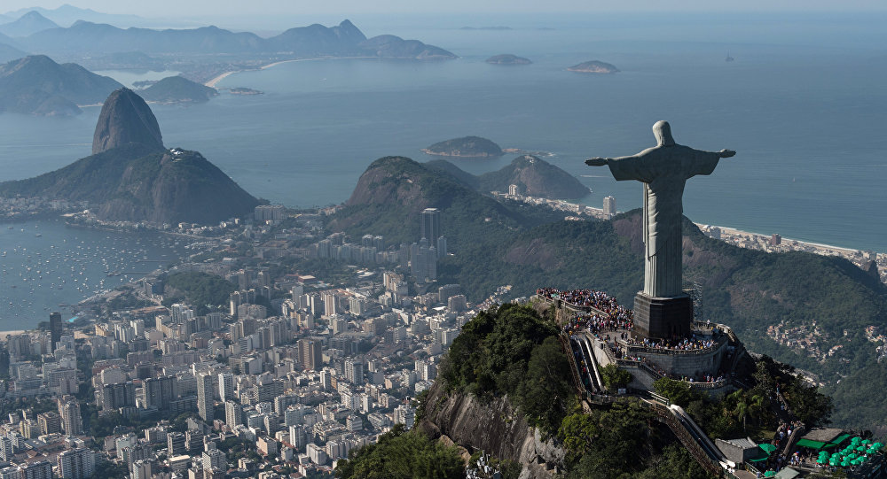 Aerial view of Christ the Redeemer statue, in Rio de Janeiro, Brazil, taken on June 26, 2014