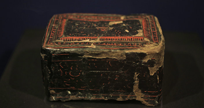 A Chinese lacquer box from the first century A.D., a burial gift for a Late-Scythian woman, is displayed as part of the exhibit called The Crimea - Gold and Secrets of the Black Sea, at Allard Pierson historical museum in Amsterdam