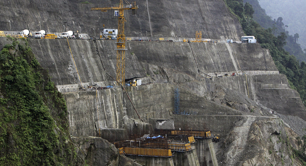 A view of the under-construction dam tunnels at the site of National Hydroelectric Power Corporation's 2000 megawatt Subansiri Lower hydroelectric project in Arunachal Pradesh state, India. (File)