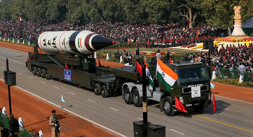 The long range ballistic Agni-V missile is displayed during Republic Day parade, in New Delhi, India.