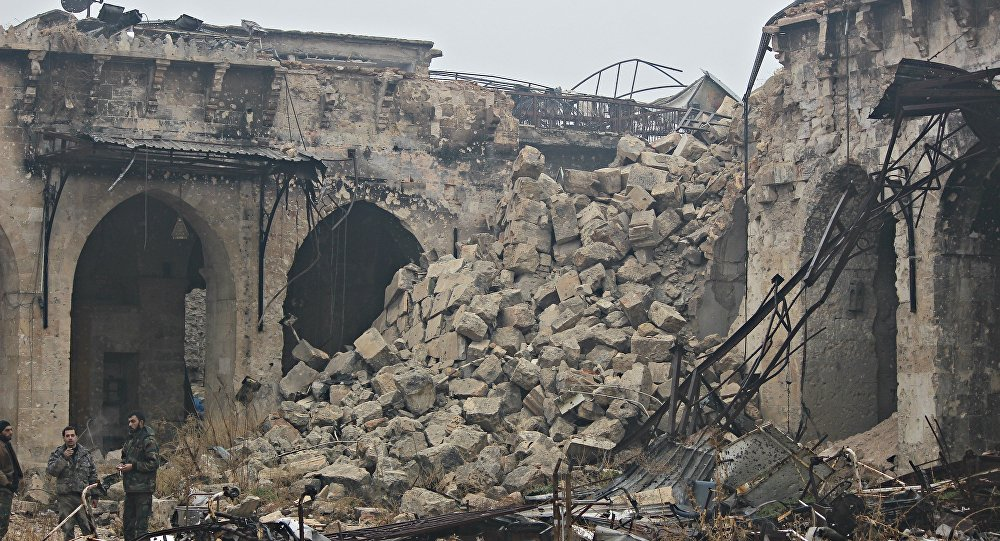 Destroyed Minaret of the Umayyed Mosque, Old City, East Aleppo. Liberated by SAA