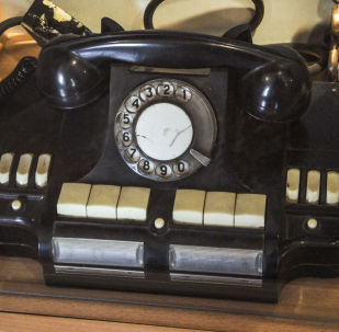 An old telephone in a museum