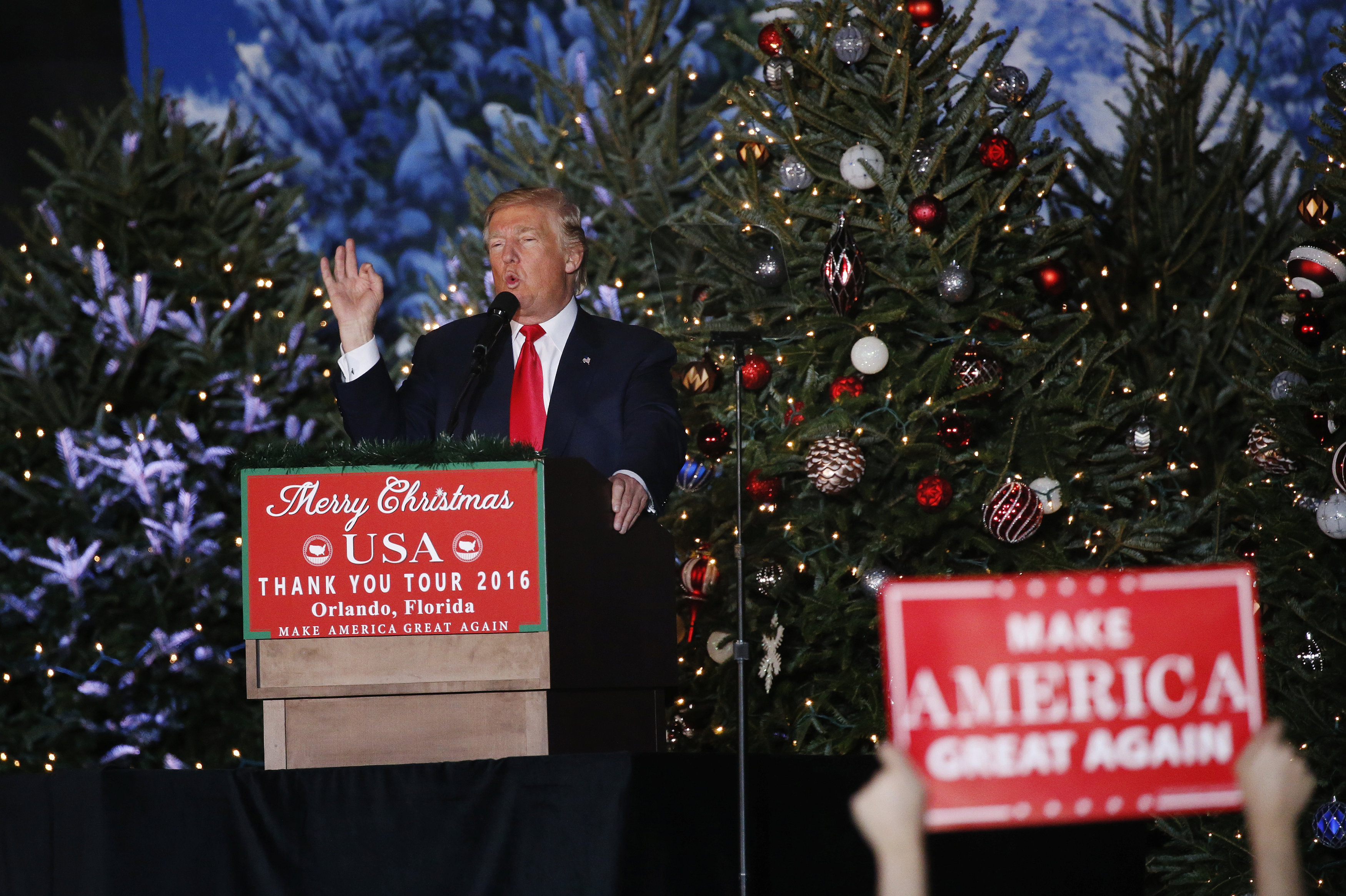 U.S. President-elect Donald Trump speaks during a USA Thank You Tour event in Orlando, Florida, U.S., December 16, 2016.
