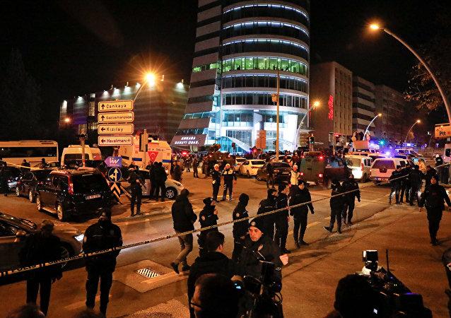 Turkish police secure the area near an art gallery where the Russian Ambassador to Turkey Andrei Karlov was shot in Ankara, Turkey, December 19, 2016