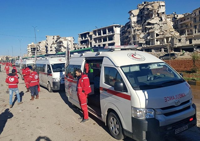 Ambulances in a liberated neighborhood of eastern Aleppo, Syria. File photo