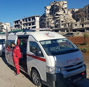 Ambulances in a liberated neighborhood of eastern Aleppo, Syria