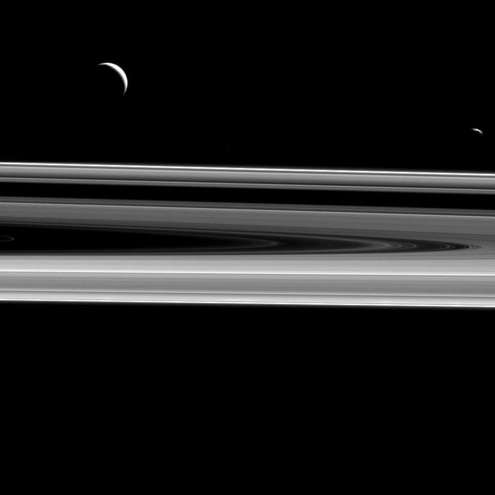 Janus and Enceladus over Saturn's rings