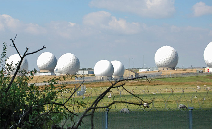 Surveillance domes at Menwith Hill