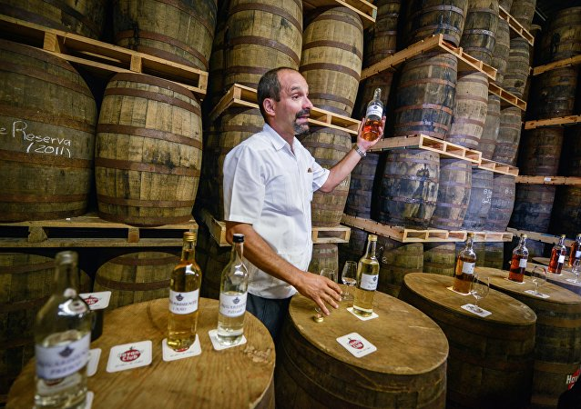 Cuban specialist in Havana Club rum Michel Rodriguez, shows a sample of rum during its maturing process, at a warehouse of the factory of the Cuban rum Havana Club, in San Jose de las Lajas, in the Cuban province of Mayabeque, taken on November 22, 2013