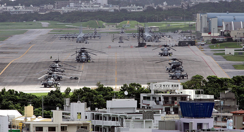 US helicopters and planes parked at Futenma US Marine Base in Ginowan, Okinawa Prefecture (File)