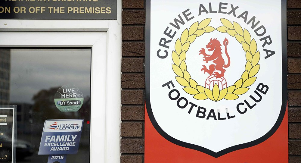 Signs are seen at the Crewe Alexandra Football Club ground in Crewe, Britain November 27, 2016