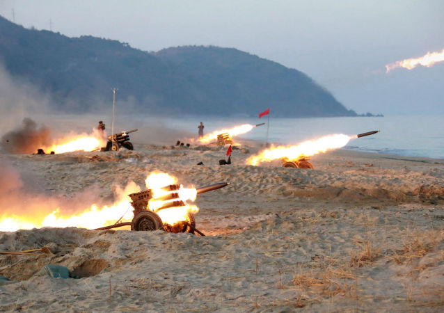 A view of a firing contest among multiple launch rocket system (MLRS) batteries selected from large combined units of the KPA, in this undated photo released by North Korea's Korean Central News Agency (KCNA) in Pyongyang