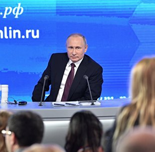 Russian President Vladimir Putin during his 12th annual news conference at Moscow's World Trade Center in Krasnaya Presnya