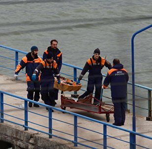 Rescuers carry the body of a victim of Russian Defense Ministry's TU-154 crash on the Black Sea coast off Sochi