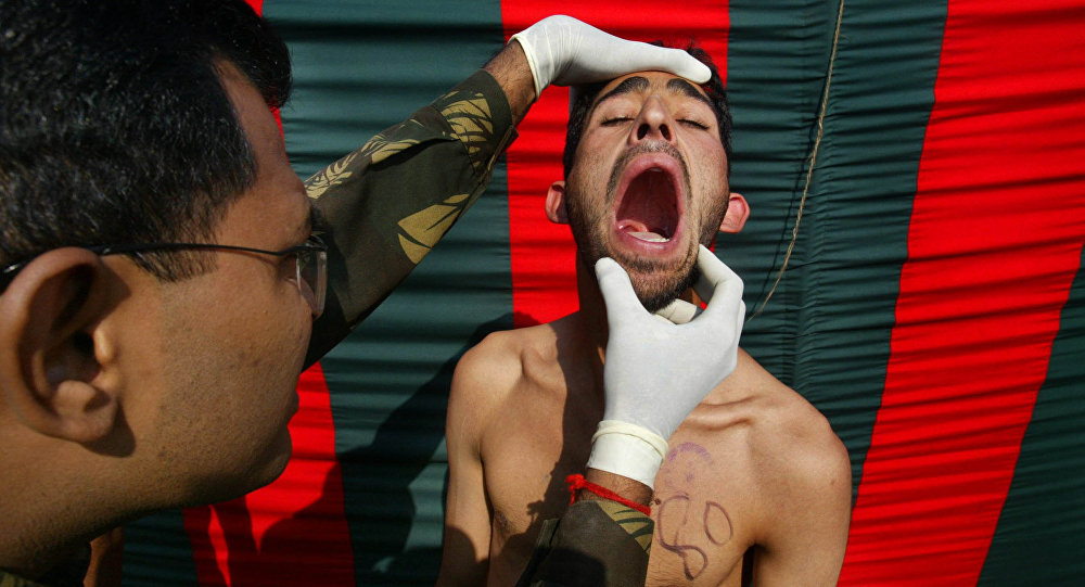 An Indian Army officer checks the teeth (File)