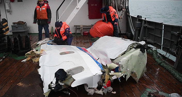 Retrieved wreckage of the Tu-154 aircraft which crashed into the Black Sea near Sochi