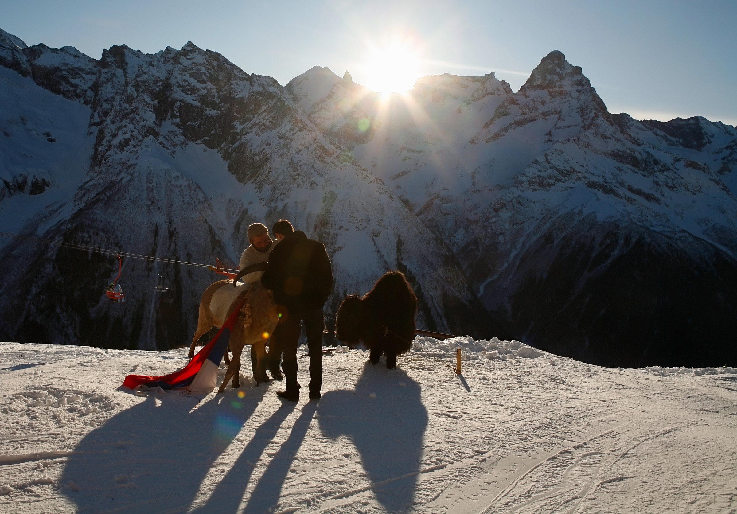 Holiday-makers at the ski resort of Dombai. (File)