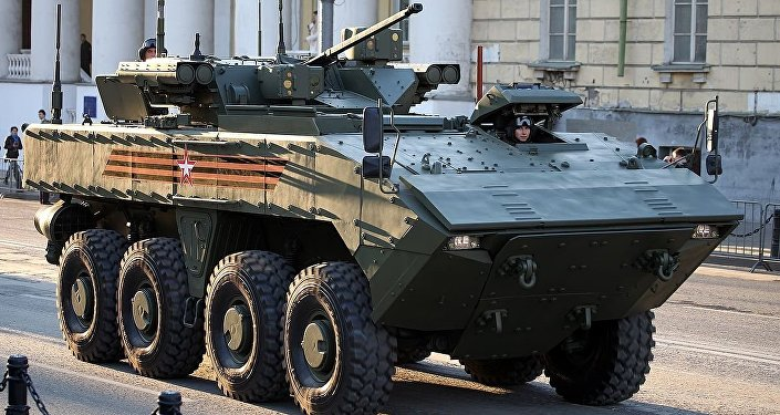 Wheeled IFV BMP-K K-17 VPK-7829 on unified wheeled combat platform Bumerang
