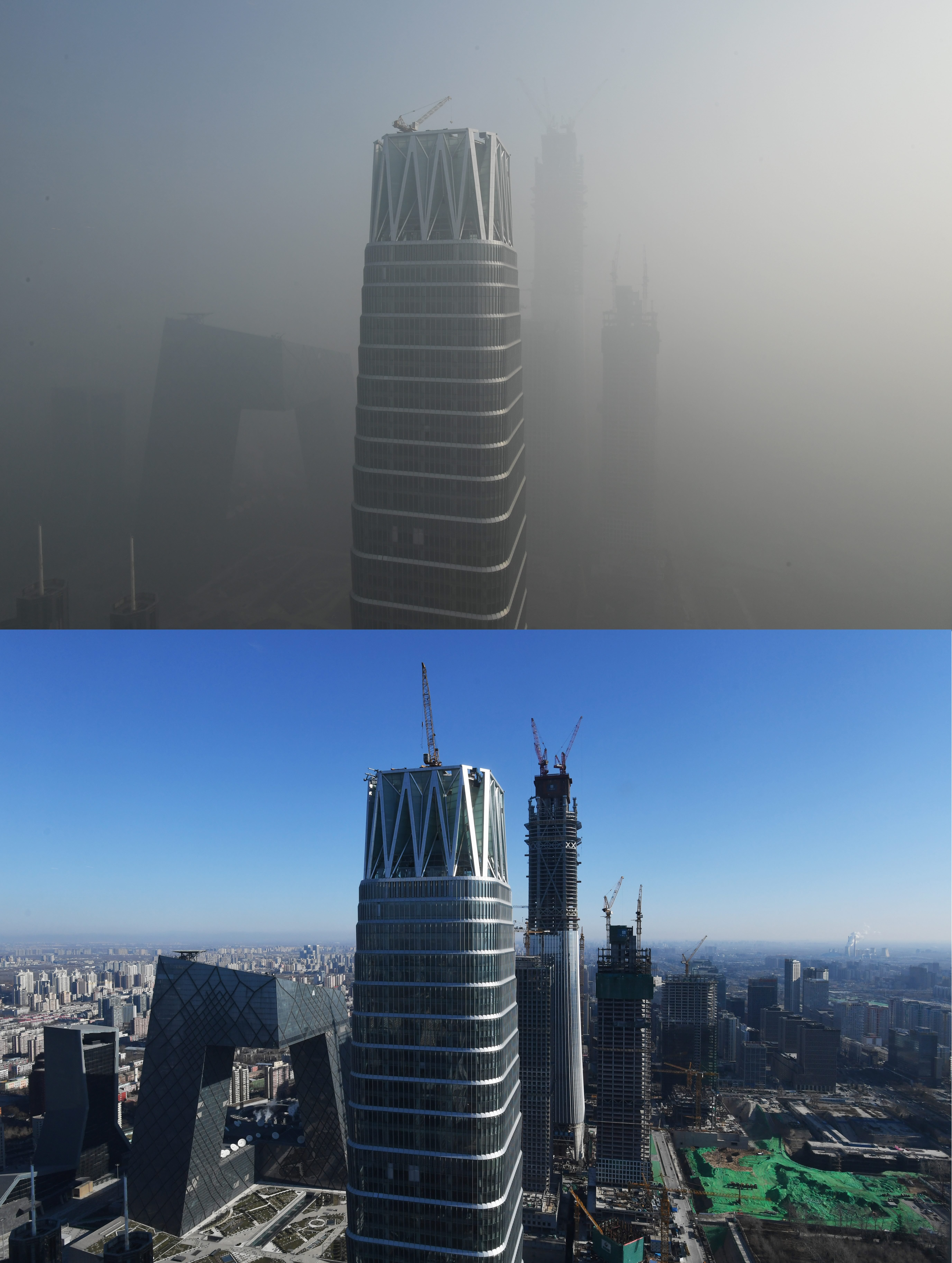 This combo shows buildings on a polluted day in Beijing on January 1, 2017 (top) and on a clear day on December 23, 2016 (bottom)