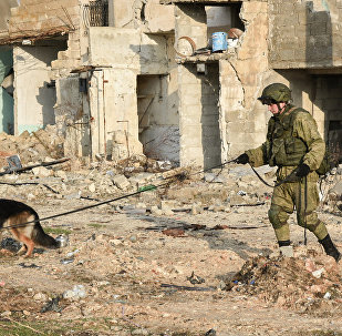 Military engineers of the Russian Army's international counter-mine center continue the demining operation in eastern Aleppo, Syria