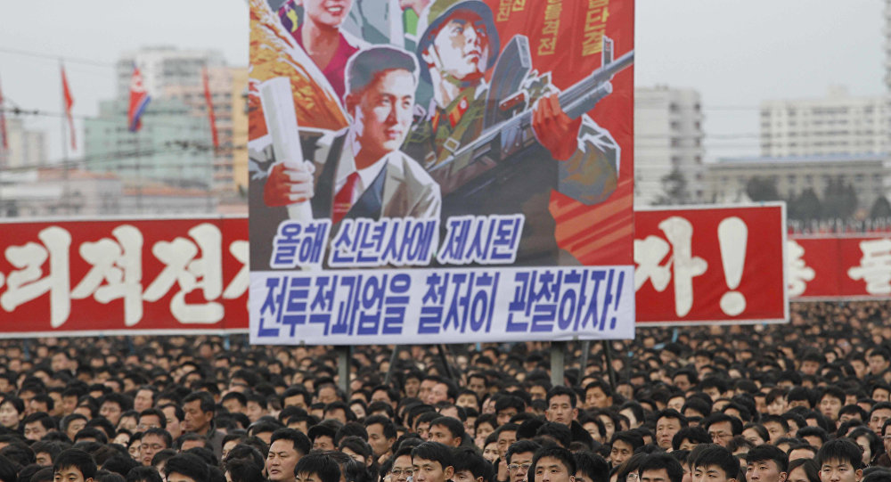 North Koreans gather during a mass rally to vow to carry through the tasks set forth by North Korean leader Kim Jong Un in his New Year's address, at Kim Il Sung Square in Pyongyang, North Korea Thursday, Jan. 5, 2017